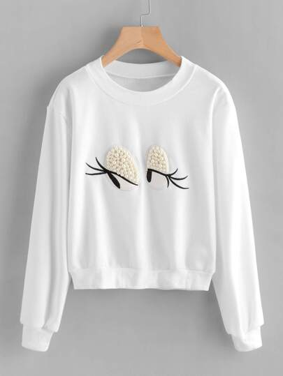 Embroidered Pearl Beaded Detail Sweatshirt