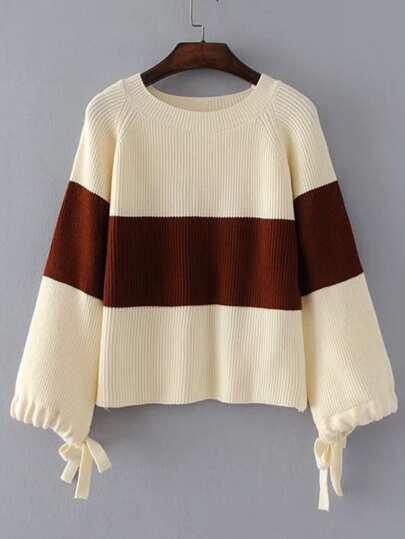 Block Striped Raglan Sleeve Sweater