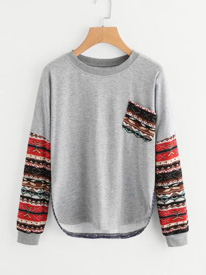 Contrast Drop Shoulder Tribal Sleeve Tee