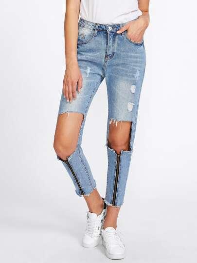 Zipper Ripped Knees Frayed Hem Crop Jeans