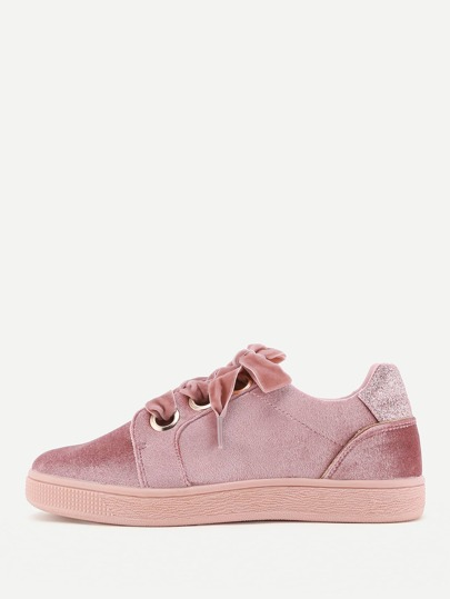 Lace Up Low Top Velvet Sneakers