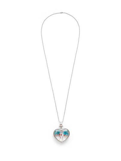 Glass Flower Heart Pendant Chain Necklace