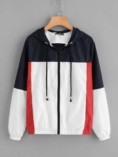 Cut And Sew Hooded Windbreaker Jacket