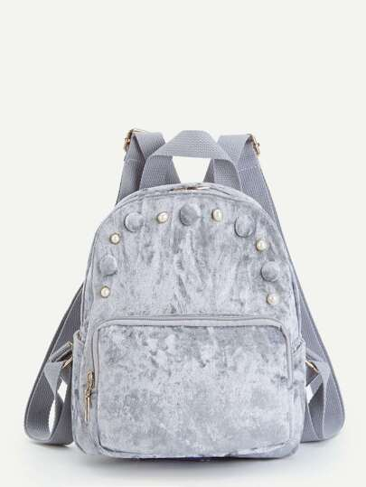 Faux Pearl Detail Velvet Backpack