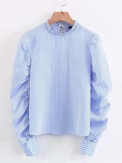 Ruched Sleeve Vertical Striped Blouse