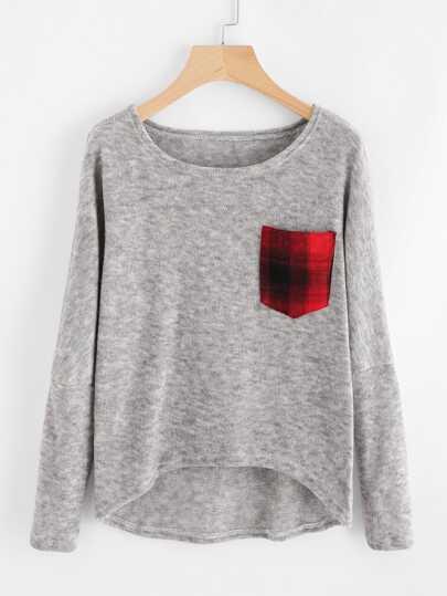 Suéter tejido marled con bolsillo en contraste