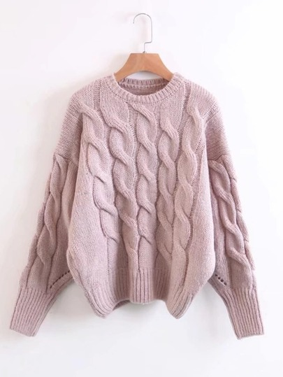 Cable Knit Drop Shoulder Sweater