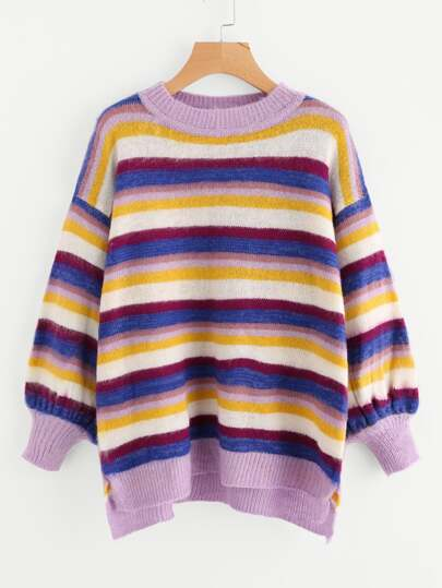 Lantern Sleeve Staggered Striped Jumper