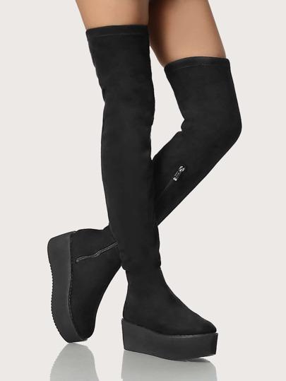 Flatform Thigh High Boots BLACK