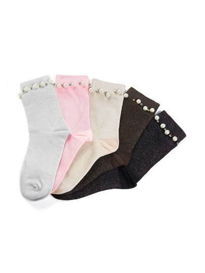 Faux Pearl Detail Ankle Socks 5pairs