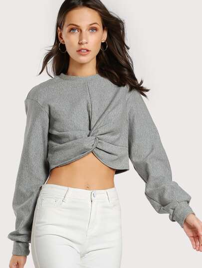 Twist Front Heather Knit Sweatshirt