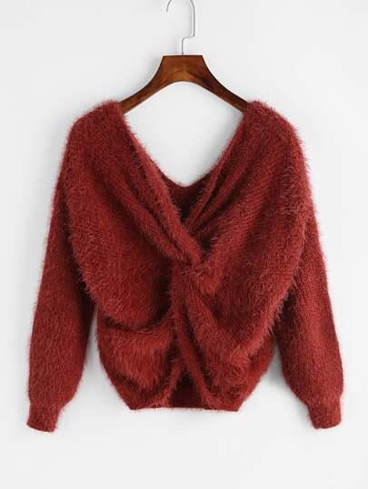 Double Plunge Twisted Hem Sweater