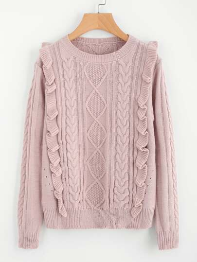 Frill Front Mixed Knit Jumper