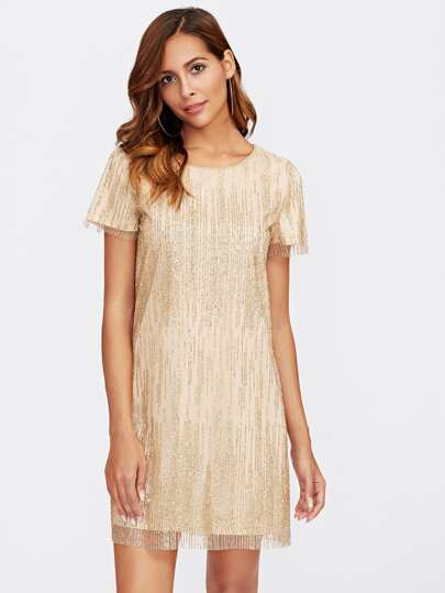 Glitter Mesh Overlay Dress