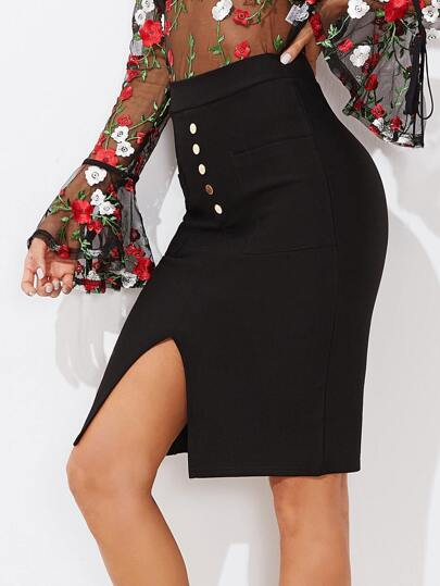 Split Front Button Skirt