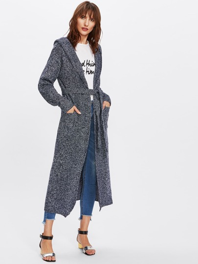 Space Dye Longline Hooded Cardigan With Belt