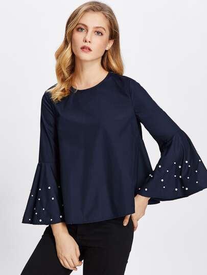 Модная блуза с бусинами