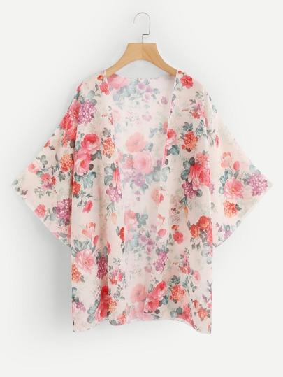 Random Florals Open Front Kimono