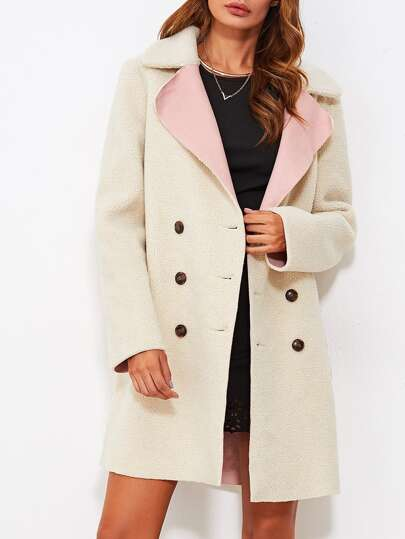 Notch Collar Contrast Pocket Faux Shearing Coat