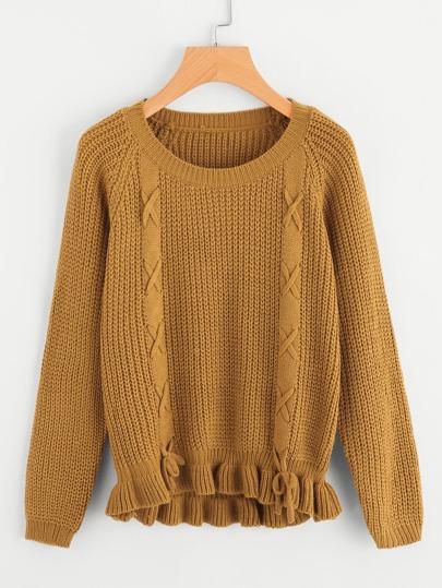 Pull tricoté avec lacet avec pan à volants