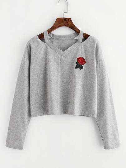 Tee-shirt martelé col découpé avec pièce de rose