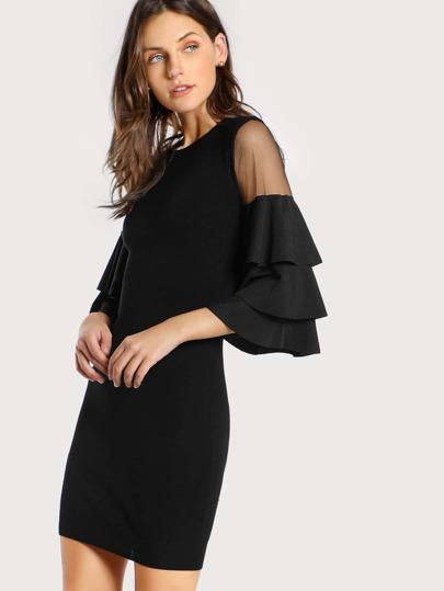 Mesh Cut Out Bodycon Dress BLACK