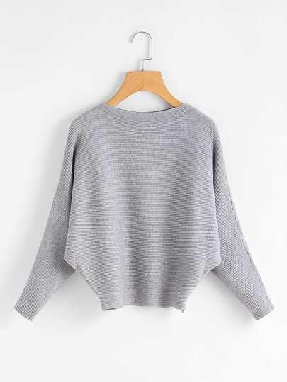 Suéter de canalé de manga murciélago