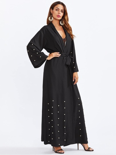 Shawl Collar Pearl Embellished Self Belted Abaya