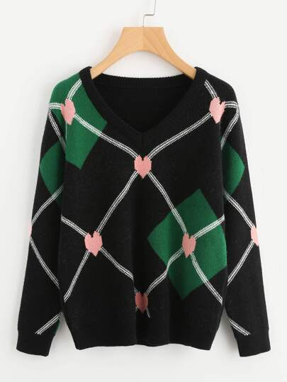 Heart And Diamond Pattern Jumper