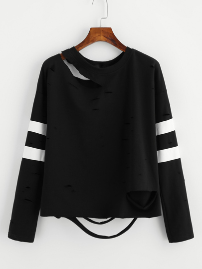 Striped Sleeve Distressed Sweatshirt