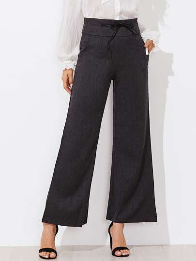 Self Tie Waist Empire Wide Leg Pants