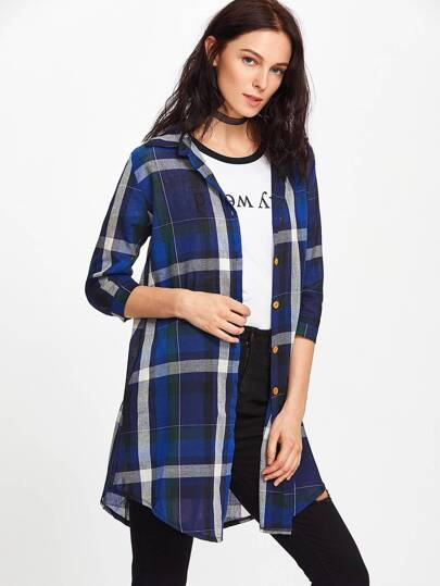 Curved Hem Longline Plaid Shirt