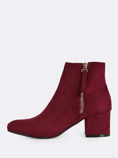 Faux Suede Point Toe Zip Up Ankle Booties BURGUNDY