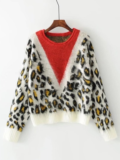 Contrast Chevron Leopard Sweater