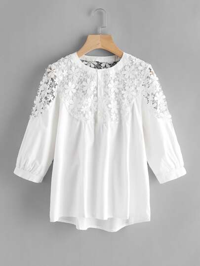 Lace Crochet Contrast Shirt