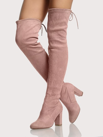Round Toe Faux Suede Thigh High Boots DARK BLUSH