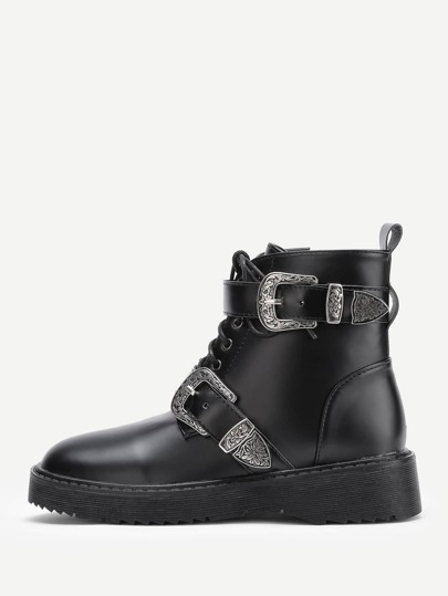 Double Buckle Design Lace Up Ankle Boots