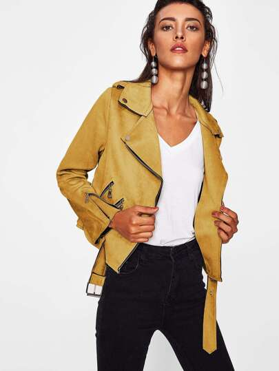 Zip Detail Belt Hem Suede Jacket