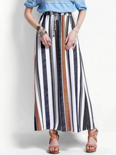 Drawstring Waist Striped Full Length Skirt
