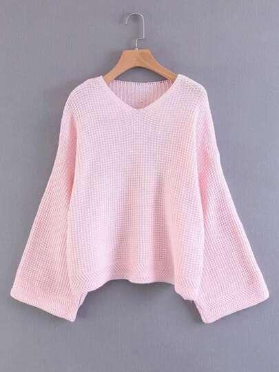 Wide Sleeve V Neckline Knitwear