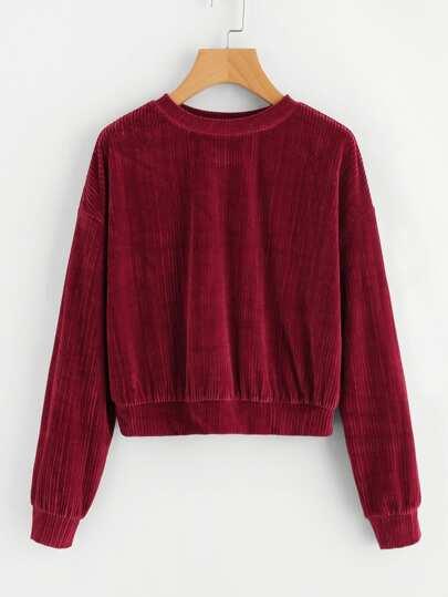 Samt Sweatshirt mit sehr tief angesetzter Schulterpartie