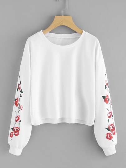 Drop Shoulder Florals Raw Hem Crop Pullover