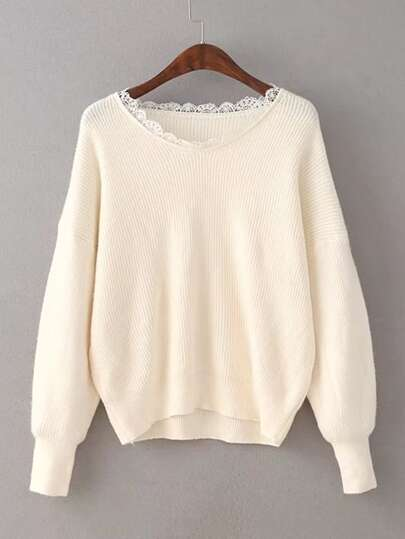 Lace Insert Drop Shoulder Sweater