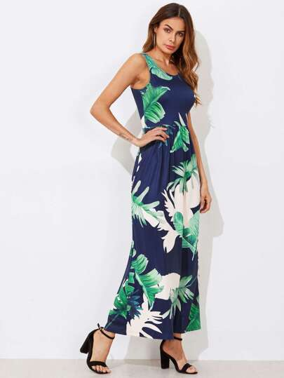 Tropical Print Pocket Side High Waist Tank Dress