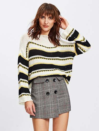 Loose Knit Striped Boxy Sweater