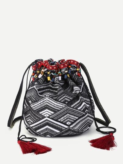 Beaded Detail Tassel Drawstring Backpack