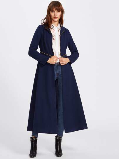 Zip Detail Two Way Detachable Skirted Coat