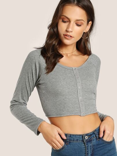 Snap Button Quarter Sleeve Crop Top LIGHT GREY