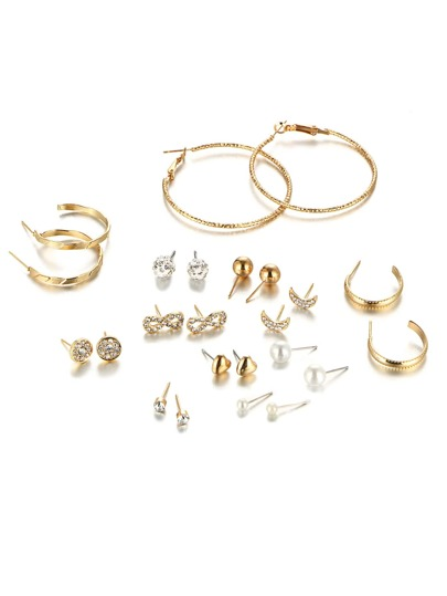 Rhinestone Stud Earrings & Hoop Earrings Set