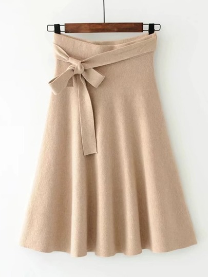 Self Tie A Line Knit Skirt